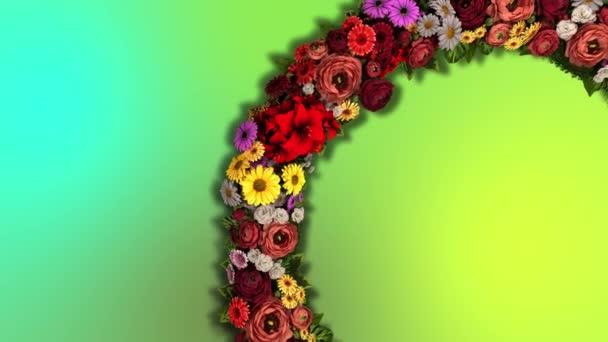 Animace vířícího kruhu květin na pestrobarevném pozadí. Video smyčka