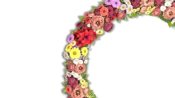Animace vířícího kruhu květin na bílém pozadí. 4K video smyčka