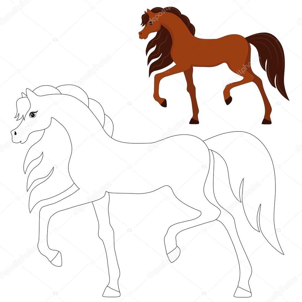 caballo corriente, imagen color y para colorear — Archivo Imágenes ...