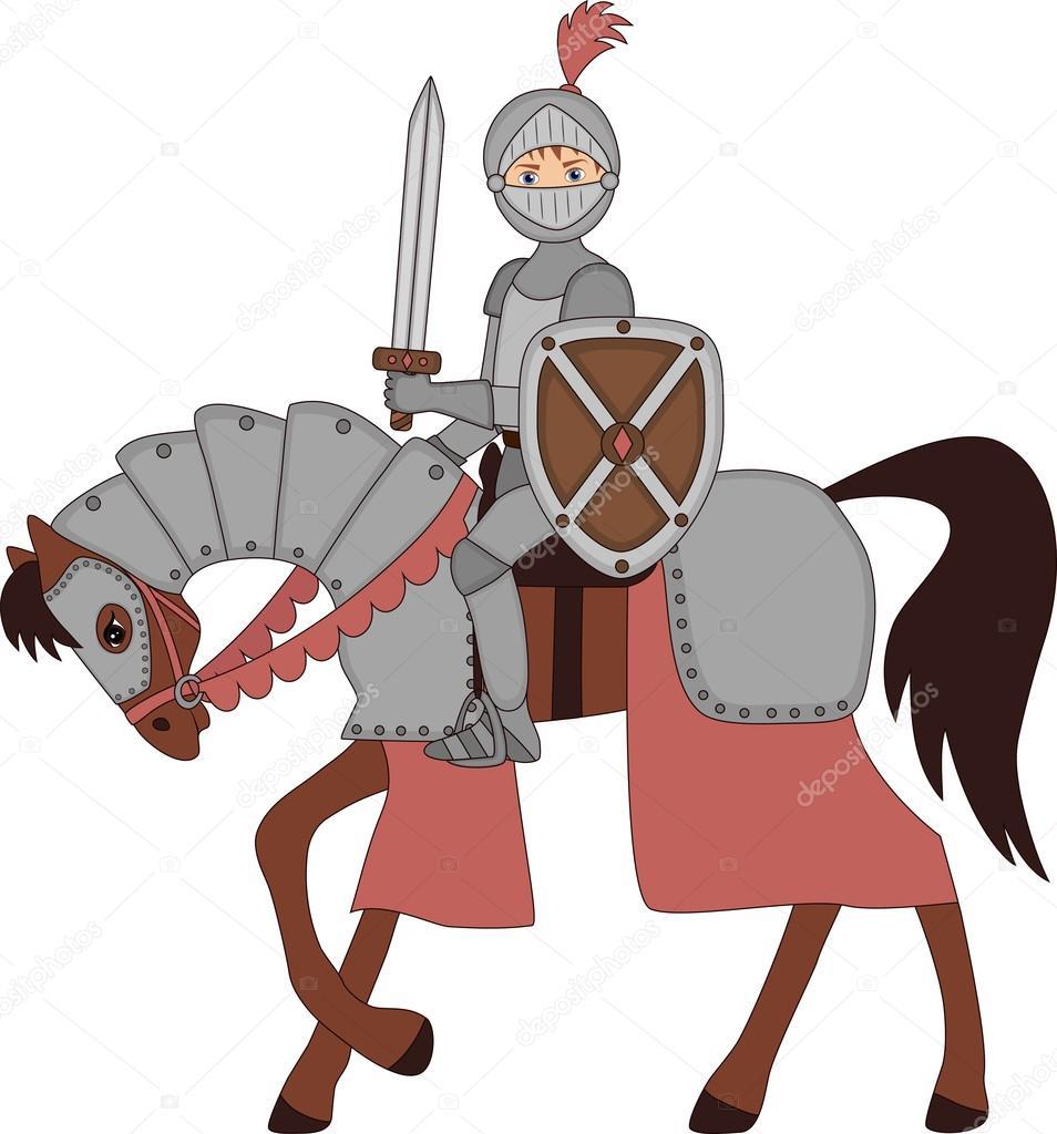 Caballero niño en armadura a caballo — Vector de stock © Syrimi ...
