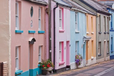 Colorful old fisherman's cottages in Devon UK