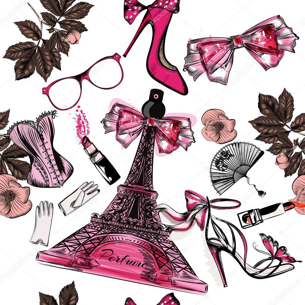 Vector seamless fashion background with perfume Eifel tower shoe