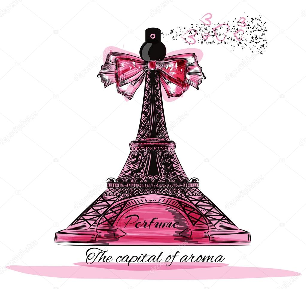 Vector illustration with perfume bottle in shape of Eifel tower