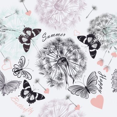 Seamless floral  background with dandelions and butterflies in p