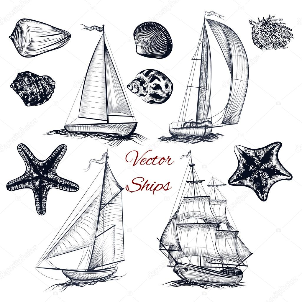 Collection of vector elements on theme of sea