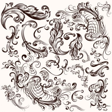 Collection of vector hand drawn swirls