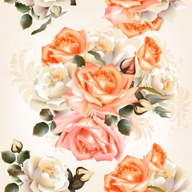 Floral  seamless pattern with roses and flowers in watercolor st