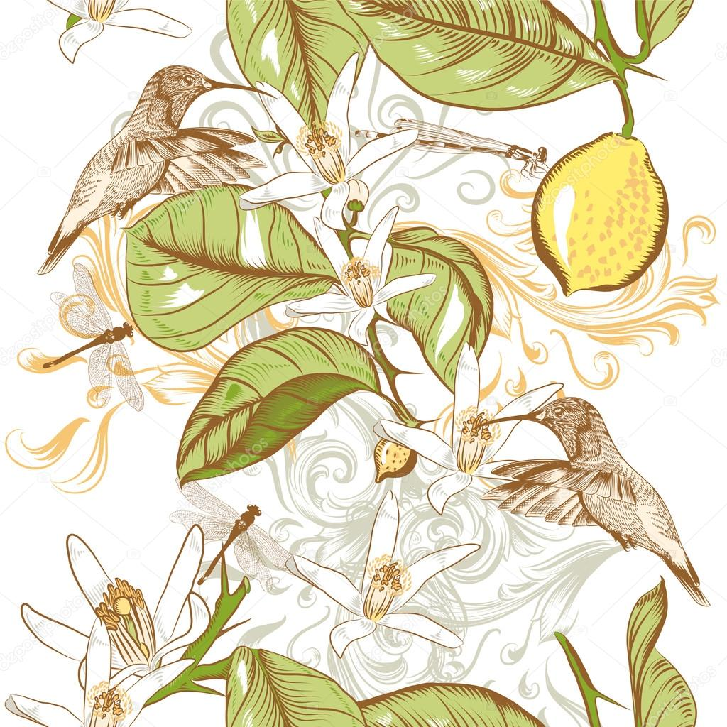 Floral seamless pattern with hand drawn lemon flowers and hummin