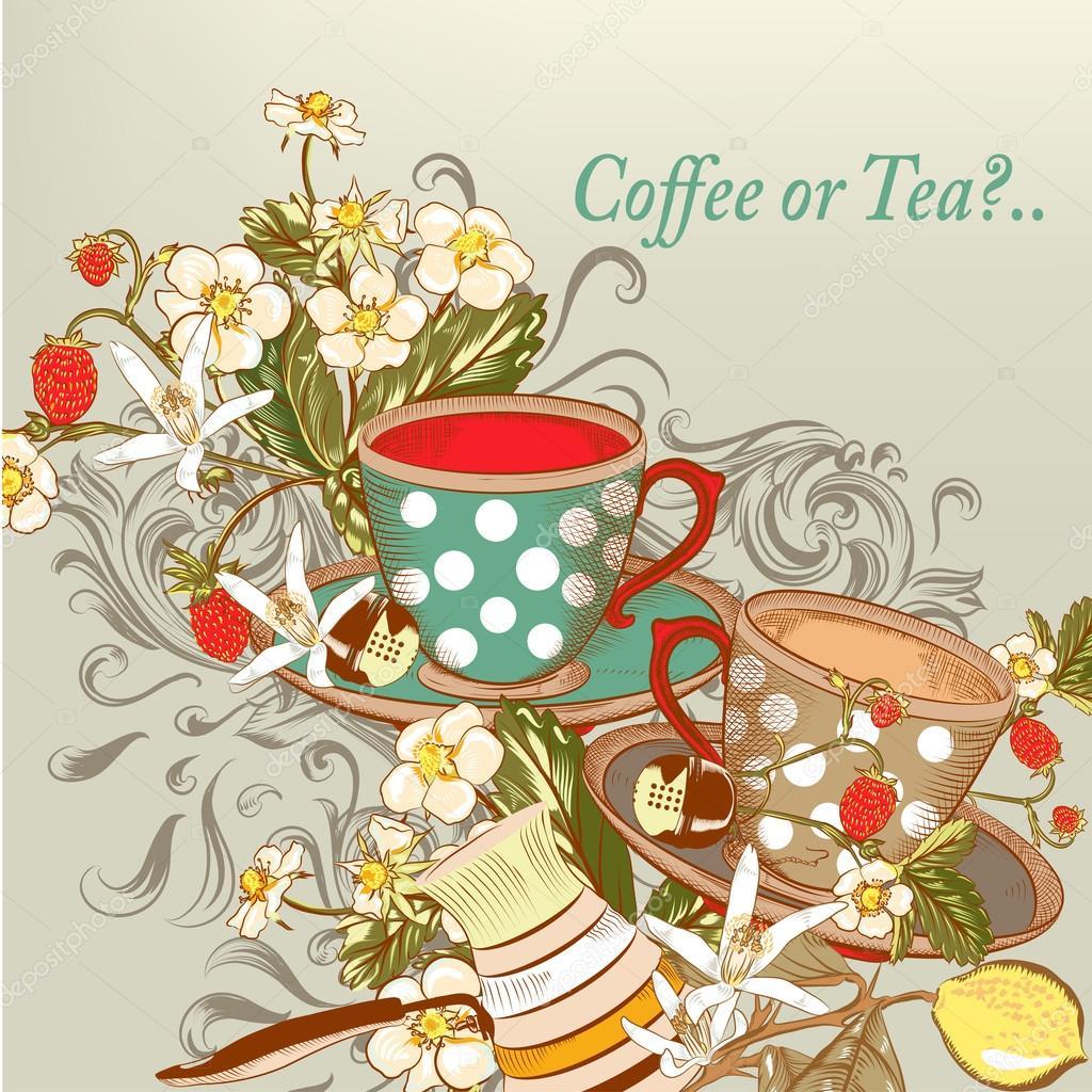 vector taza de te vintage fondo caf o t con tazas de