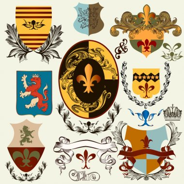 Collection of vector heraldic shields for design