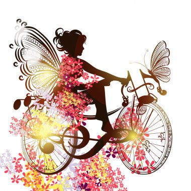 Flower fairy on a bicycle symbol of music inspiration
