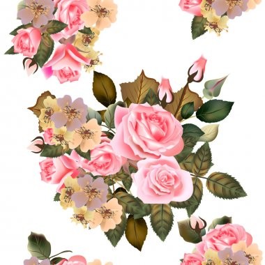 Floral seamless wallpaper pattern with roses