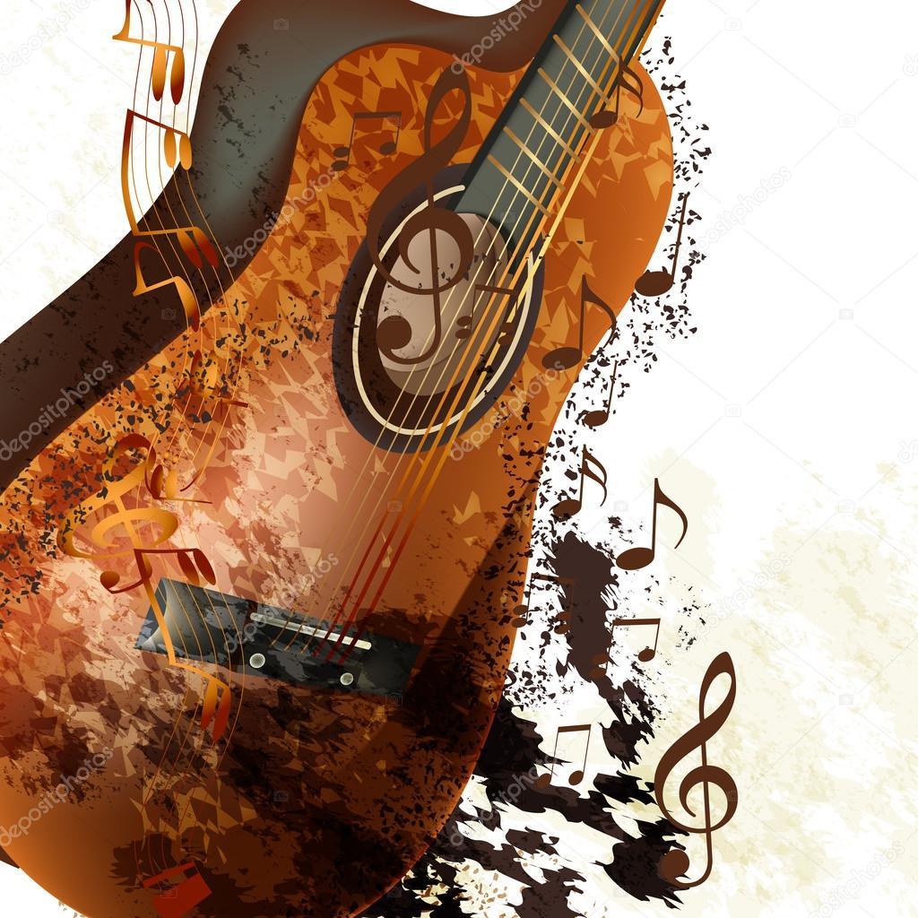 Фон с гитарой для открытки, мыльные пузыри прозрачном