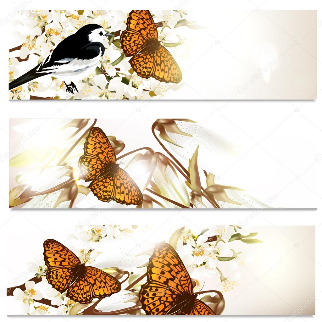 Business cards set in floral style with butterflies, bird and fl