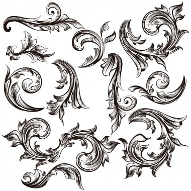 Collection of calligraphic swirls in vintage style