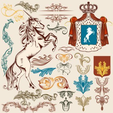 Collection of vector heraldic vintage elements for design