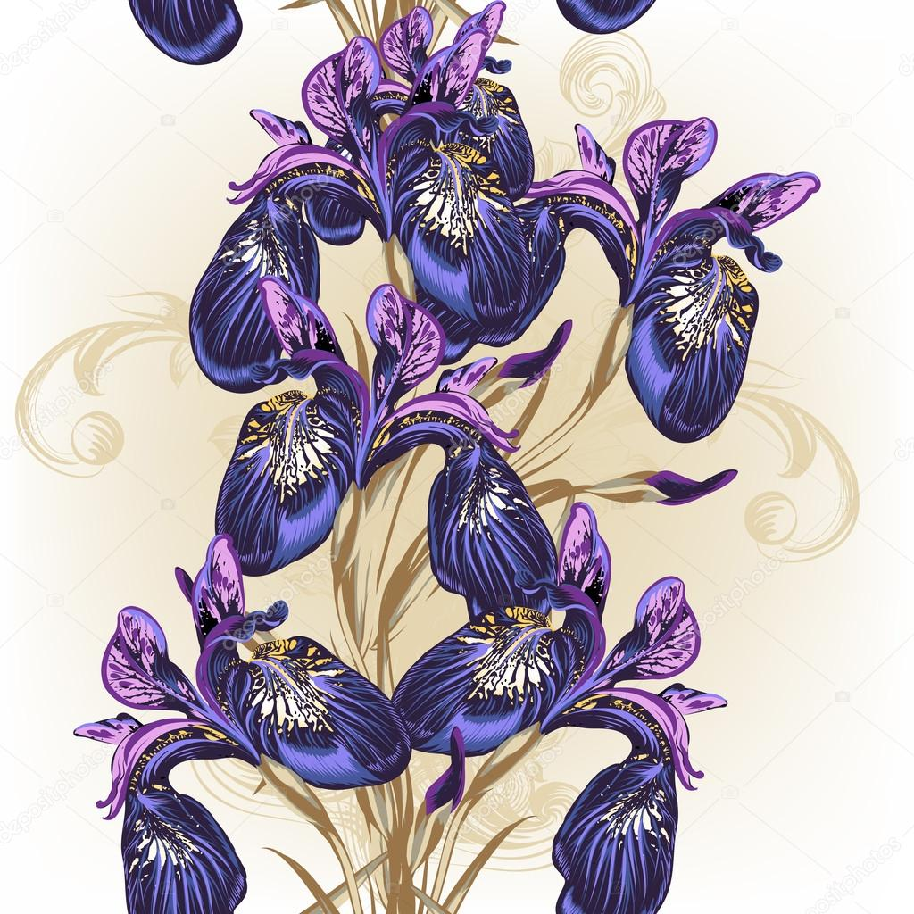 Floral seamless wallpaper pattern with purple flowers