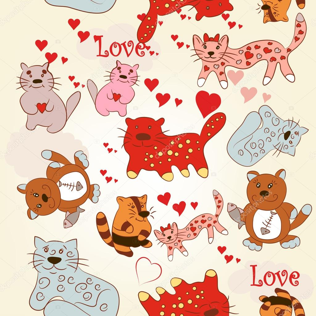 Childish seamless wallpaper pattern with cute and funny cats