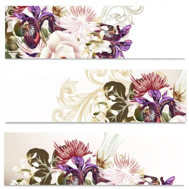 Floral backgrounds set with flowers