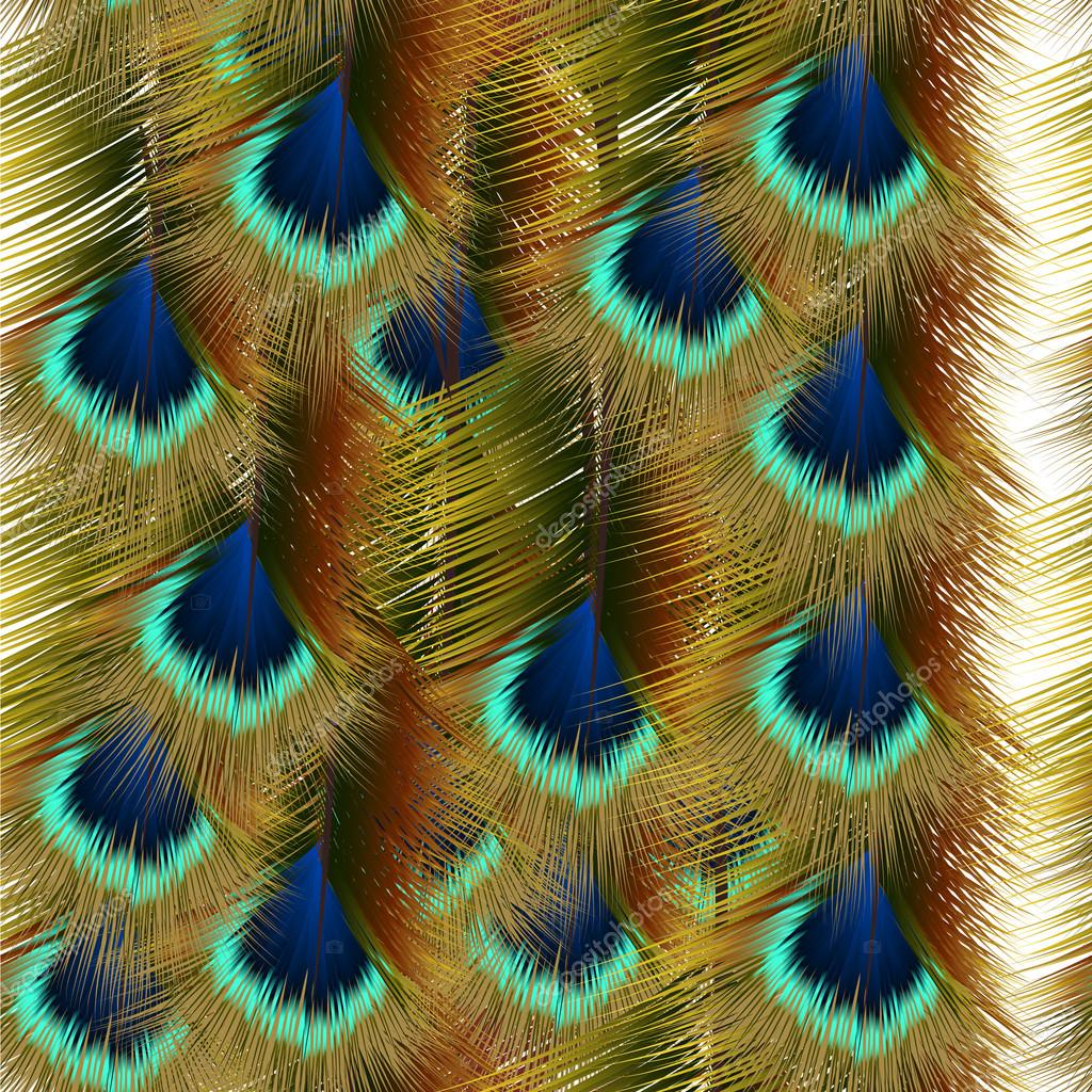 Fashion seamless pattern with colorful peacock feathers