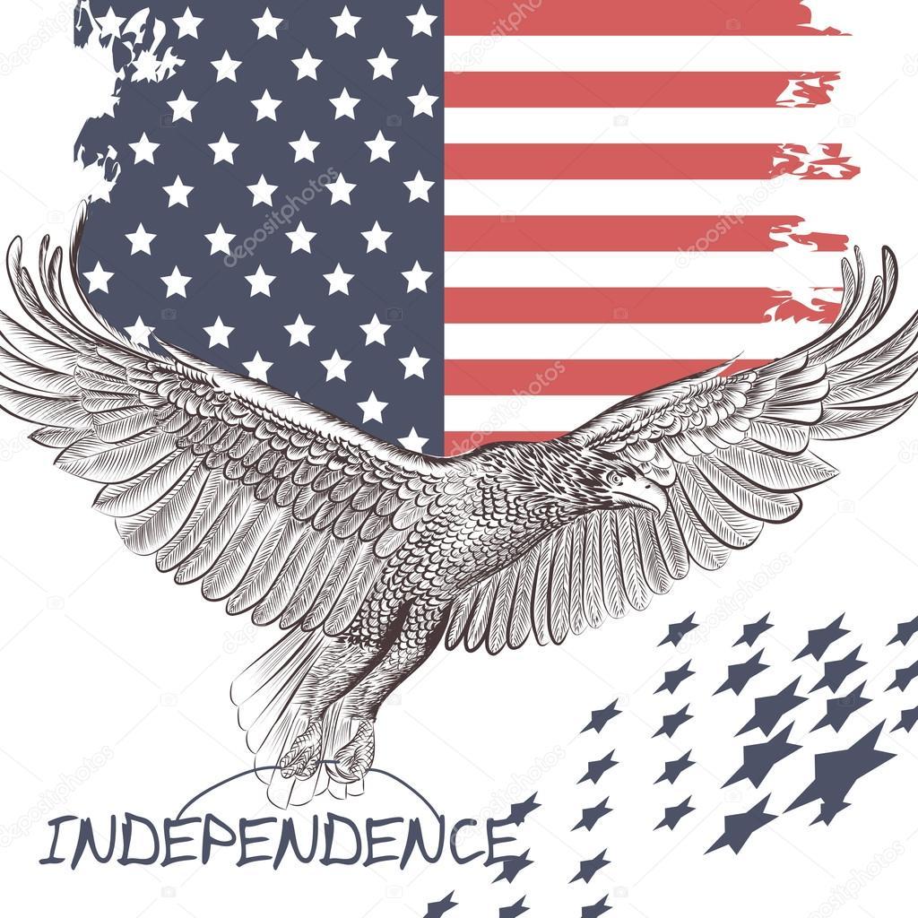 Fashion Trendy Background Usa Flag And Eagle Symbol Of Independe