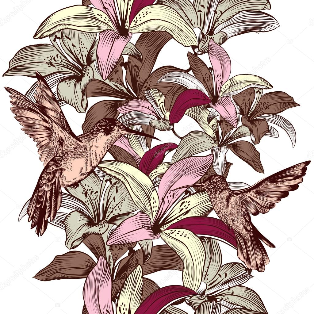 Seamless wallpaper pattern with lily flowers and hummingbirds