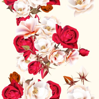 Floral seamless pattern with white and red roses in vintage styl
