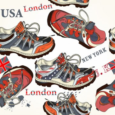 Fashion seamless pattern with sports boods decorated by British