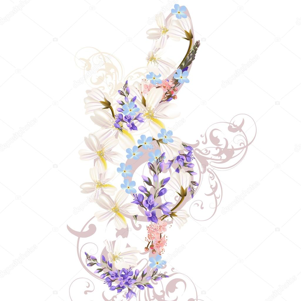 Music Background With Treble Clef Decorated By Flowers