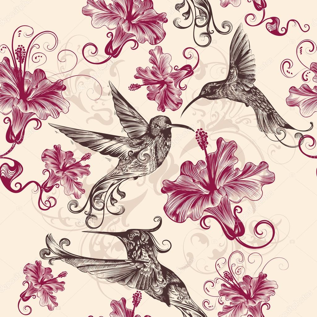 Beautiful Seamless Wallpaper Pattern With Hummingbirds And Flowe Stock Vector