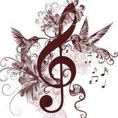 Fotografie Hudební pozadí s houslový klíč a kolibříci pro design