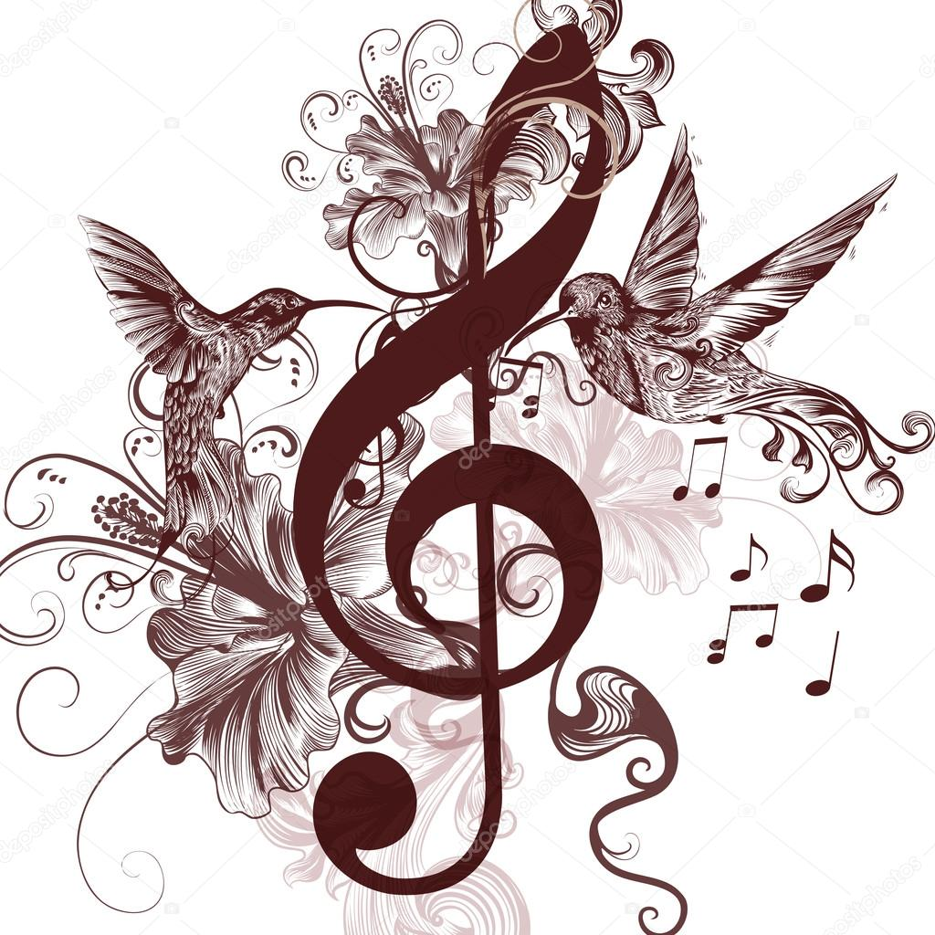 Music background with treble clef and hummingbirds for design