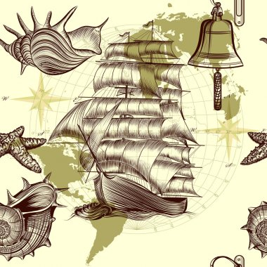 Antique pattern with ship, shells and map, tripping theme