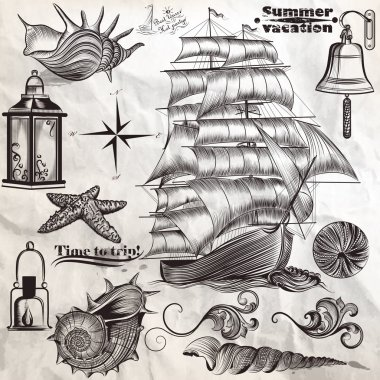 Collection of vector antique elements sea rest and summer vacati