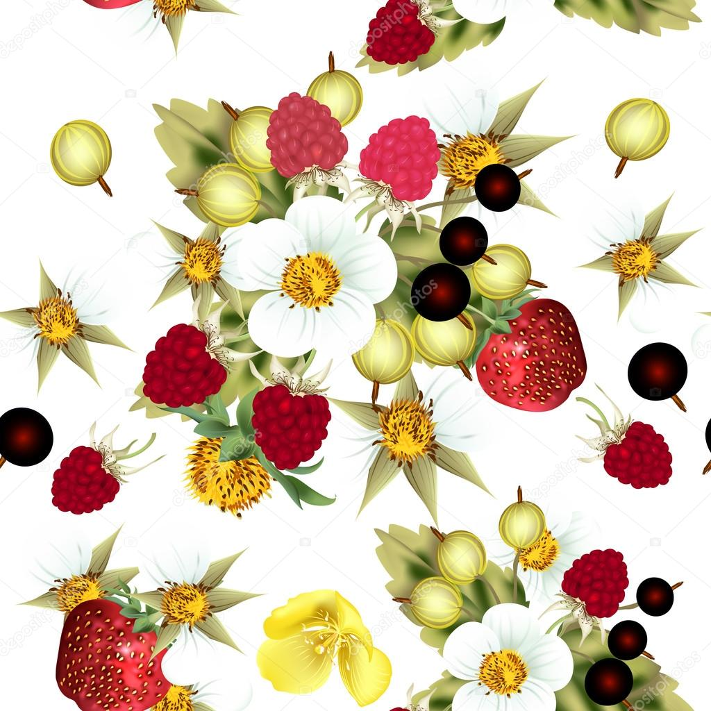 Floral seamless pattern with strawberry, blackberry, berries and