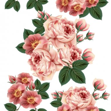 Seamless wallpaper pattern with roses in retro style
