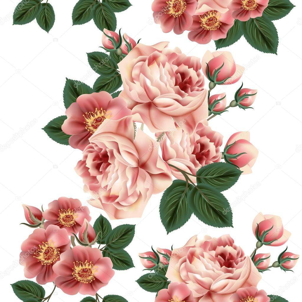 Seamless Wallpaper Pattern With Roses In Retro Style Stock Vector
