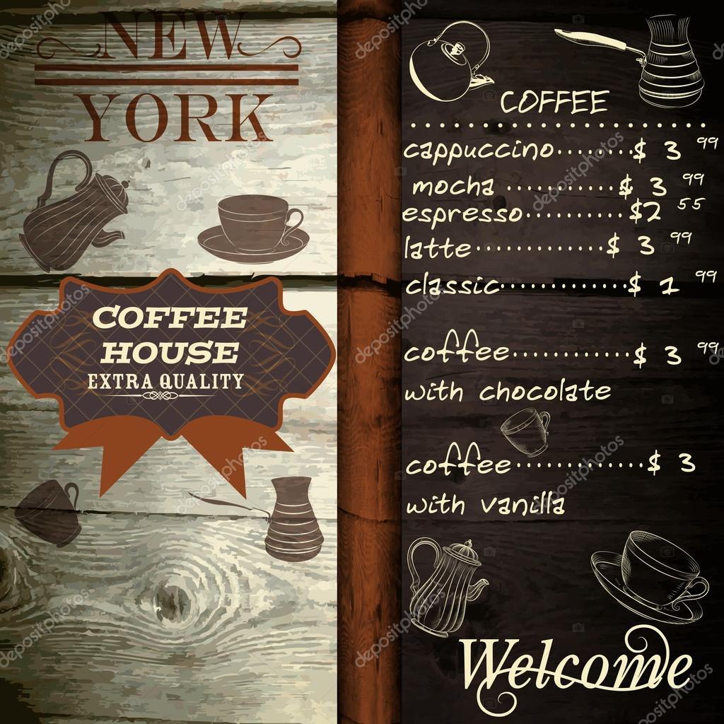 diseo de casa de caf o caf en textura madera con lista de precios u vector
