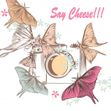 Illustration with old-fashioned camera and butterflies shooting