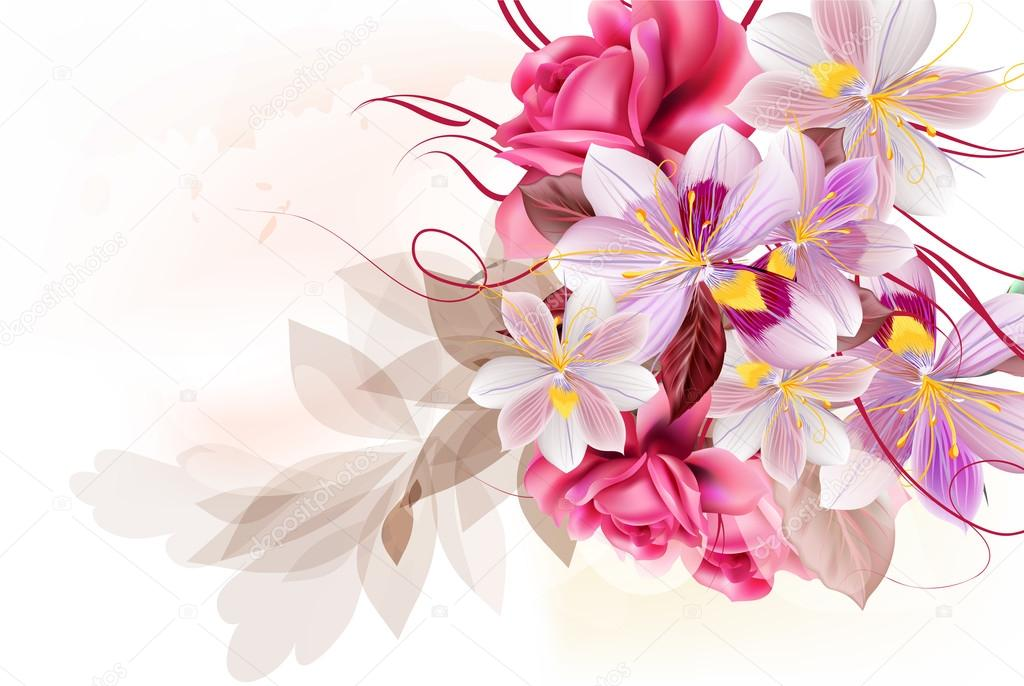 Vector cute flower bouquet for design