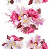 vektorové bezešvé tapety vzor s růžemi a Hyacint květ