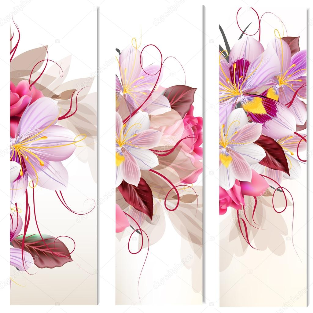 Set of three vertical floral banners for your design
