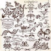Vector design kalligrafikus elemek összessége. kalligrafikus vec