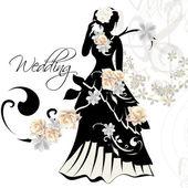 Fotografia 设计的婚礼邀请与女性剪影