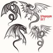 Fotografia Collezione di tatuaggi da mano disegnati draghi per progettazione