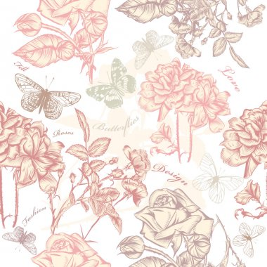 Vector seamless wallpaper pattern with roses