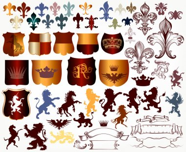Vector set of luxury royal vintage elements for your heraldic de