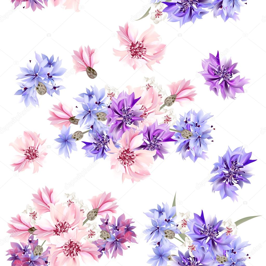 Seamless Wallpaper Pattern With Blue Pink And Purple Cornflower