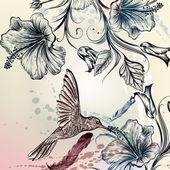 Vektorové zpět nebo vzorek ptáků a květin