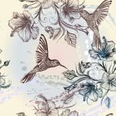 Vektor zökkenőmentes tapéta mintát, madarak és virágok